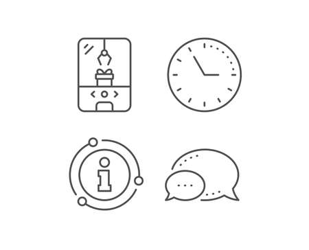 Crane claw machine line icon. Chat bubble, info sign elements. Amusement park sign. Carousels symbol. Linear crane claw machine outline icon. Information bubble. Vector