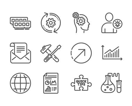 Set of Technology icons, such as Mail newsletter, Direction, Cogwheel, Quick tips, Globe, Graph, Ram, Thoughts, User idea, Hammer tool, Chemistry lab, Report document line icons. Vector