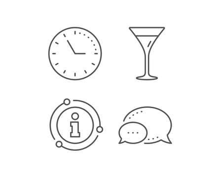 Martini glass line icon. Chat bubble, info sign elements. Wine glass sign. Linear martini glass outline icon. Information bubble. Vector Illustration