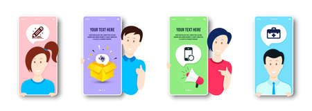 Recovery phone, Brand contract and Eco energy icons simple set. People on phone screen. First aid sign. Backup smartphone, Edit report, Lightbulb. Medicine kit. Science set. Vector