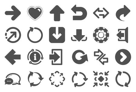 Arrows icons. Set of Download or Share, Synchronize and Recycle signs. Undo, Refresh arrows and Login symbols. Sign out, Next and Upload. Universal share Arrow elements. Quality set. Vector