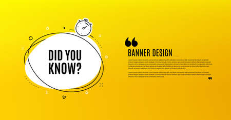 Did you know. Yellow banner with chat bubble. Special offer question sign. Interesting facts symbol. Coupon design. Flyer background. Hot offer banner template. Bubble with did you know text. Vector Stock Illustratie