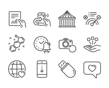 Set of Technology icons, such as Usb stick, Scroll down, Share call, Consolidation, Alarm bell, Carousels, Love message, Correct answer, Recovery photo, Document, International love. Vector