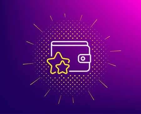 Loyalty program line icon. Halftone pattern. Bonus points. Discount wallet symbol. Gradient background. Loyalty program line icon. Yellow halftone pattern. Vector