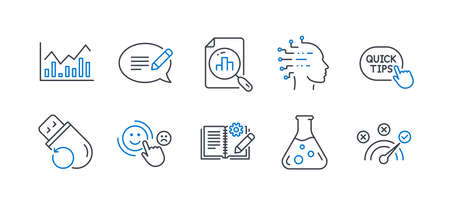 Set of Education icons, such as Message, Quick tips, Engineering documentation, Infochart, Chemistry lab, Artificial intelligence, Analytics graph, Customer satisfaction, Flash memory. Vector