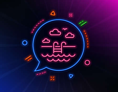 Swimming pool line icon. Neon laser lights. Outdoor basin sign. Hotel service symbol. Glow laser speech bubble. Neon lights chat bubble. Banner badge with swimming pool icon. Vector