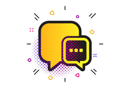 Chat sign icon. Halftone dots pattern. Speech bubble with three dots symbol. Communication chat bubble. Classic flat message icon. Vector Illusztráció