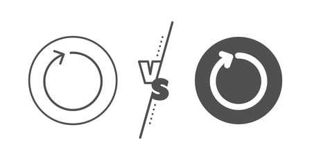 Actualizar el símbolo de la punta de flecha. Versus concepto. Icono de línea de flecha de bucle. Signo de puntero de navegación. Línea vs icono de bucle clásico. Vector