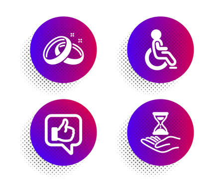 Disabled, Like and Wedding rings icons simple set. Halftone dots button. Time hourglass sign. Handicapped wheelchair, Thumbs up, Love. Sand watch. People set. Classic flat disabled icon. Vector