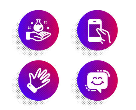Hold smartphone, Hand and Chemistry lab icons simple set. Halftone dots button. Smile chat sign. Phone call, Waving palm, Laboratory. Happy face. People set. Classic flat hold smartphone icon. Vector