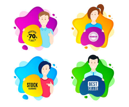 Stock clearance sale symbol. People shape offer badge. Special offer price sign. Advertising discounts symbol. Dynamic shape offer. Worker person badge. Cut out people coupon. Vector