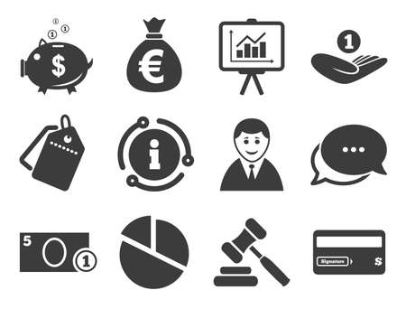 Piggy bank, credit card and auction signs. Discount offer tag, chat, info icon. Money, cash and finance icons. Presentation, pie chart and businessman symbols. Classic style signs set. Vector
