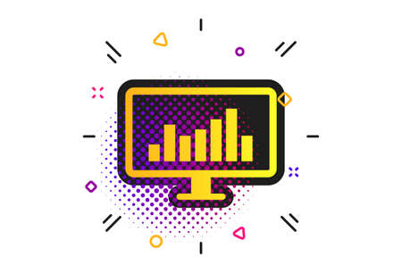 Computer monitor sign icon. Halftone dots pattern. Market monitoring. Classic flat monitor icon. Vector  イラスト・ベクター素材