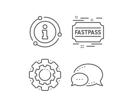 Fastpass line icon. Chat bubble, info sign elements. Amusement park ticket sign. Fast track symbol. Linear fastpass outline icon. Information bubble. Vector