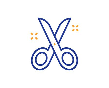 Cutting tool sign. Scissors line icon. Tailor utensil symbol. Colorful outline concept. Blue and orange thin line scissors icon. Vector Banque d'images - 128374237
