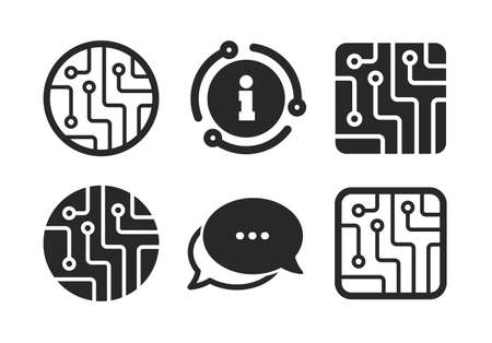 Technology scheme circles and squares sign symbols. Chat, info sign. Circuit board icons. Classic style speech bubble icon. Vector Çizim