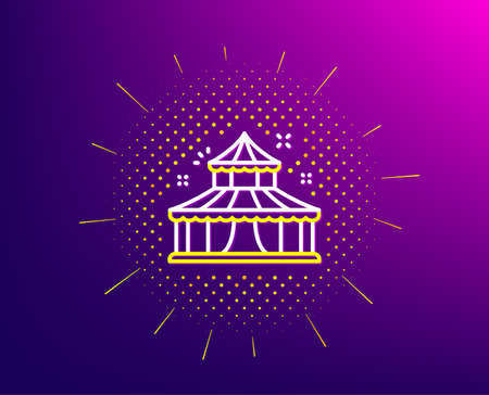 Circus line icon. Halftone pattern. Amusement park sign. Gradient background. Circus line icon. Yellow halftone pattern. Vector Illustration