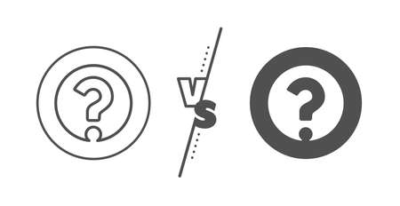 Support help sign. Versus concept. Question mark line icon. FAQ symbol. Line vs classic question mark icon. Vector