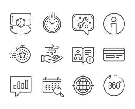 Set of Technology icons, such as Augmented reality, Credit card, Search calendar, Analytical chat, 360 degrees, Seo internet, Time, Technical algorithm, Wind energy, Spanner, Timer, Info. Vector