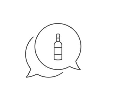 Brandy bottle line icon. Chat bubble design. Whiskey or Scotch alcohol sign. Outline concept. Thin line brandy bottle icon. Vector