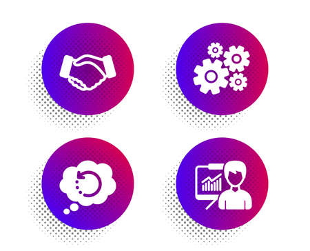 Handshake, Recovery data and Cogwheel icons simple set. Halftone dots button. Presentation sign. Deal hand, Backup info, Engineering tool. Education board. Business set. Vector