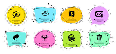 Coupons, Payment message and Trash bin line icons set. Chat bubbles with quotes. Full rotation, Share and Wifi signs. Verified mail, Loyalty star symbols. Shopping tags, Finance. Business set. Vector Illustration