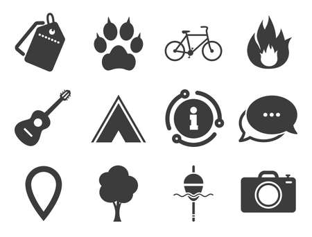 Fishing, fire and bike signs. Discount offer tag, chat, info icon. Tourism, camping icons. Guitar music, photo camera and paw with clutches. Classic style signs set. Vector Ilustrace