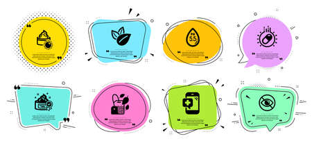 Medical phone, Ph neutral and Organic product line icons set. Chat bubbles with quotes. Cream, Sun cream and Not looking signs. Capsule pill, Mint bag symbols. Mobile medicine, Water. Vector Foto de archivo - 128477121