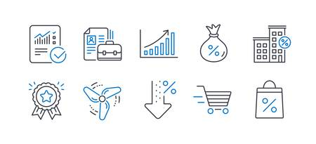 Set of Finance icons, such as Low percent, Wind energy, Graph chart, Checked calculation, Vacancy, Loyalty award, Delivery shopping, Loan, Loan house, Shopping bag line icons. Vector Illustration