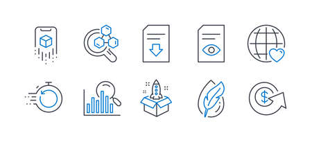 Set of Technology icons, such as Startup, Chemistry lab, Augmented reality, International love, Hypoallergenic tested, Download file, Fast recovery, View document, Search, Dollar exchange. Vector