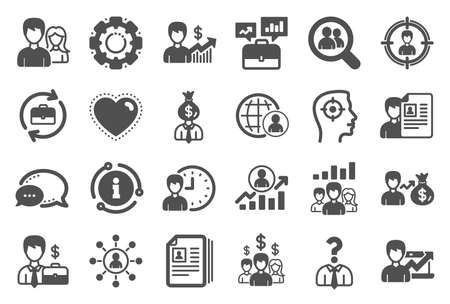 Human Resources, head hunting icons. Business networking contract, Job Interview and Head Hunting contract icons. CV, Teamwork and Portfolio symbols. Business career, human, interview. Vector