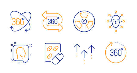360 degree, Swipe up and Capsule pill line icons set. Full rotation, Face biometrics and Head signs. Chemical hazard, 360 degrees symbols. Virtual reality, Scrolling arrow. Science set. Vector