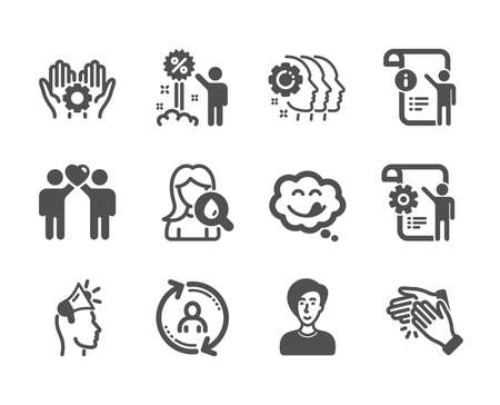 Set of People icons, such as Discount, Businesswoman person, Manual doc, Friends couple, Employees teamwork, Employee hand, User info, Yummy smile, Clapping hands, Moisturizing cream. Vector Stock Vector - 128477383