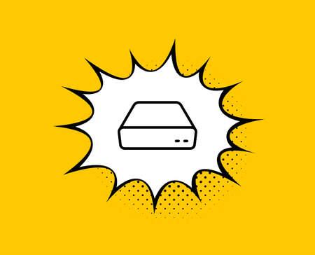 Mini pc line icon. Comic speech bubble. Small computer device sign. Yellow background with chat bubble. Mini pc icon. Colorful banner. Vector