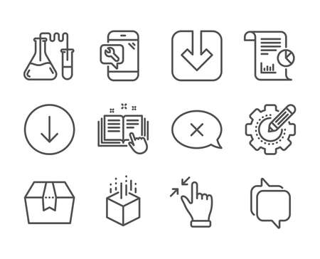 Set of Technology icons, such as Package box, Chemistry lab, Reject, Technical documentation, Load document, Messenger, Touchscreen gesture, Augmented reality, Scroll down, Report. Vector