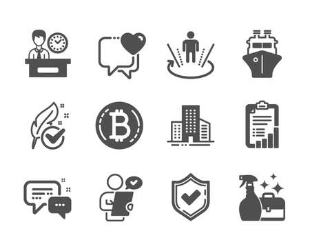 Set of Business icons, such as Cleanser spray, Presentation time, Confirmed, Customer survey, Hypoallergenic tested, Buildings, Checklist, Employees messenger, Bitcoin, Heart, Ship. Vector Illustration