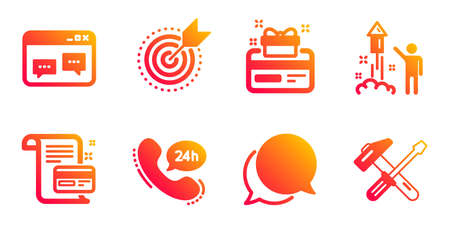 Loyalty card, Browser window and Payment card line icons set. Fireworks, Chat message and 24h service signs. Target purpose, Hammer tool symbols. Bonus points, Website chat. Business set. Vector