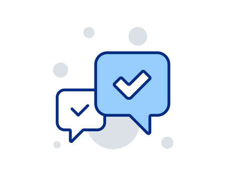 Approve line icon. Accepted or confirmed sign. Speech bubble symbol. Linear design sign. Colorful approve icon. Vector