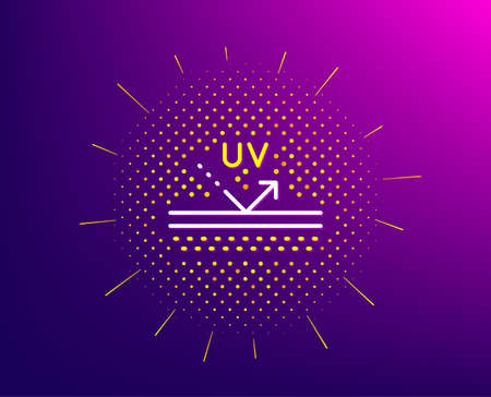 Uv protection cream line icon. Halftone pattern. Skin care sign. Cosmetic lotion symbol. Gradient background. Uv protection line icon. Yellow halftone pattern. Vector Illustration
