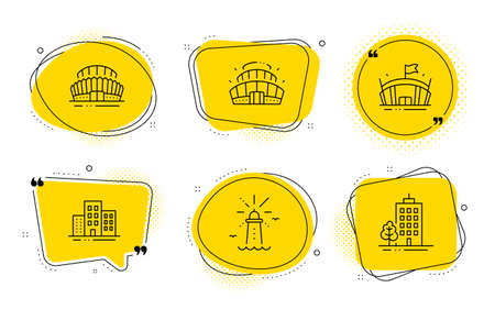 Arena stadium, Arena and Skyscraper buildings signs. Chat bubbles. Sports stadium, Buildings and Lighthouse line icons set. Town apartments, Navigation beacon, Competition building. Vector