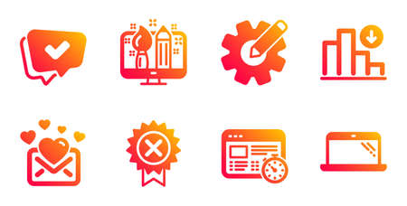 Decreasing graph, Reject medal and Web timer line icons set. Love mail, Cogwheel and Creative design signs. Approved, Laptop symbols. Crisis chart, Award rejection. Technology set. Vector