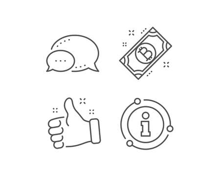 Bitcoin line icon. Chat bubble, info sign elements. Cryptocurrency cash sign. Crypto money symbol. Linear bitcoin outline icon. Information bubble. Vector
