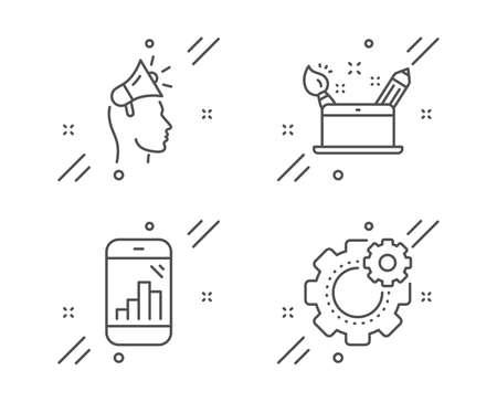 Brand ambassador, Creativity concept and Graph phone line icons set. Cogwheel sign. Megaphone, Graphic art, Mobile statistics. Engineering tool. Business set. Vector Stock Vector - 128477719