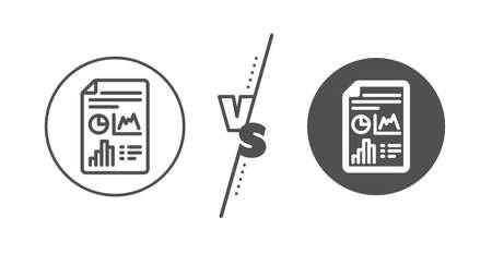 Column graph sign. Versus concept. Report document line icon. Growth diagram, pie chart symbol. Line vs classic report document icon. Vector