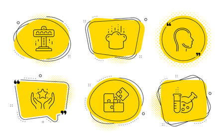 Attraction, Cooking hat and Chemistry lab signs. Chat bubbles. Head, Ranking and Puzzle line icons set. Human profile, Hold star, Engineering strategy. Free fall. Business set. Line head icon. Vector