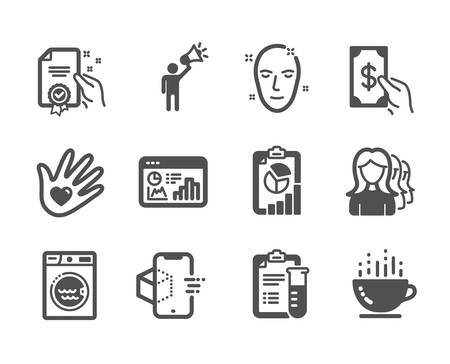Set of Business icons, such as Seo statistics, Health skin, Receive money, Medical analyzes, Report, Laundry, Social responsibility, Coffee cup, Certificate, Brand ambassador. Vector