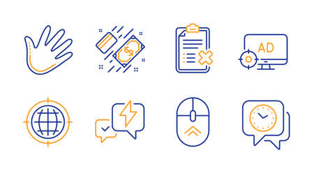 Reject checklist, Hand and Seo internet line icons set. Payment, Lightning bolt and Swipe up signs. Seo adblock, Clock symbols. Decline file, Swipe. Business set. Line reject checklist icon. Vector