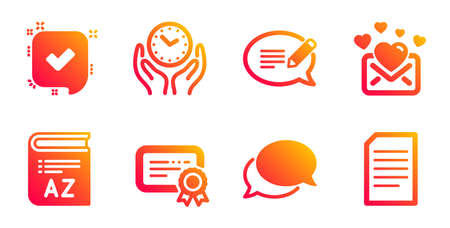Love mail, Message and Messenger line icons set. Confirmed, Safe time and Certificate signs. Vocabulary, Document symbols. Valentines letter, Speech bubble. Education set. Vector