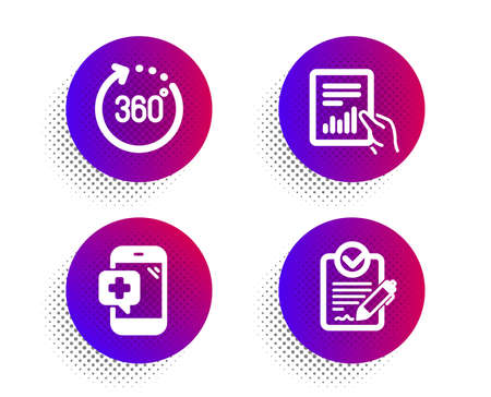 Medical phone, Document and 360 degrees icons simple set. Halftone dots button. Rfp sign. Mobile medicine, File with diagram, Panoramic view. Request for proposal. Science set. Vector