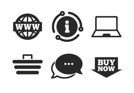 Notebook pc, shopping cart, buy now arrow and internet signs. Chat, info sign. Online shopping icons. WWW globe symbol. Classic style speech bubble icon. Vector  イラスト・ベクター素材